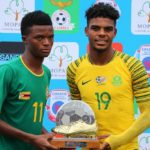 Delic Murimba of Zimbabwe (l) and Lyle Foster of South Africa (r) winners of the Golden Boot during the 2018 COSAFA U20 Championship