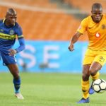 Willard Katsande of Kaizer Chiefs challenged by Thamsanqa Mkhize of Cape Town City