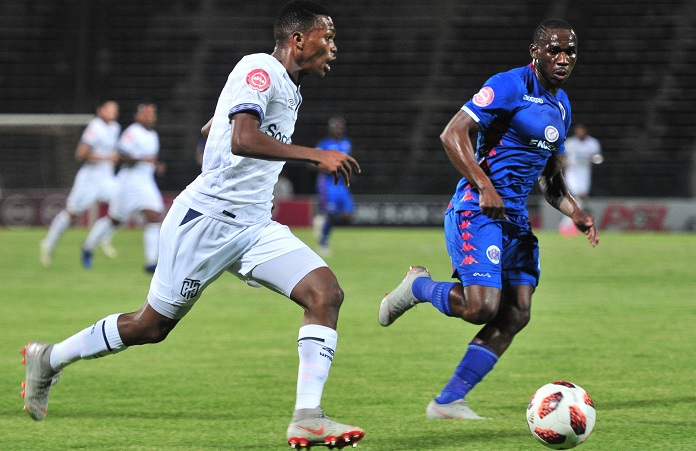 Gift Links of Cape Town City challenged by Onismor Bhasera of Supersport United