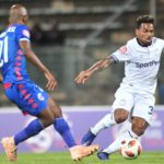 Kermit Erasmus of Cape Town City challenged by Phumlani Ntshangase of Supersport United