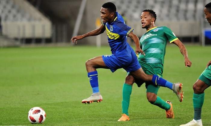 Gift Links of Cape Town City challenged by Goodman Mosele of Baroka FC