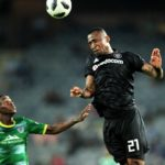Collins Makgaka of Baroka challenged by Alfred Ndengane of Orlando Pirates