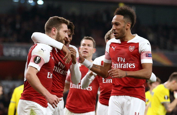 Mustafi, Sokratis on target as Arsenal breeze through