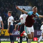Chris Wood of Burnley celebrates scoring the opener against Tottenham Hotspur