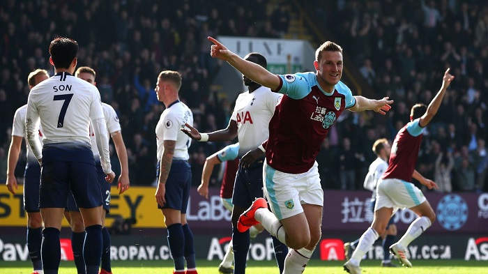 Chris Wood of Burnley celebrates scoring the opener against Tottenham Hotspur