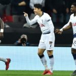 Heung-Min Son of Tottenham Hotspur celebrates opening the scoring against Borussia Dortmund