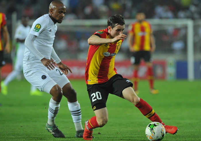 Ayman Ben Mohamed of Esperance challenged by Xola Mlambo of Orlando Pirates