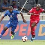Aubrey Modiba of Supersport United challenged by Musa Nyatama of Orlando Pirates