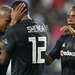 Luvuyo Memela of Orlando Pirates celebrates his goal with teammates