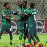 Tapelo Nyongo of AmaZulu FC celebrates with his teammates