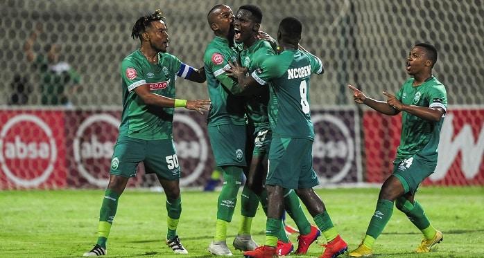 Tapelo Nyongo of AmaZulu FC celebrates with his teammates