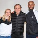 Pauline Bremer, Vincent Kompany of Manchester City and Puma CEO Bjorn Gulden