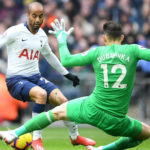 Lucas Moura of Spurs and Martin Dubravka of Newcastle United