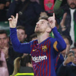 Barcelona's Lionel Messi celebrates after scoring