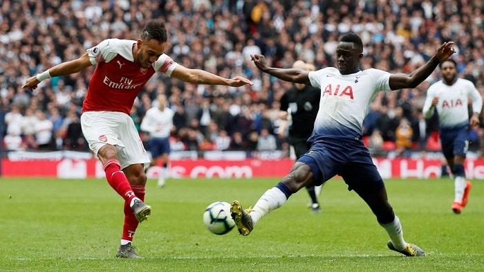 Pierre-Emerick Aubameyang of Arsenal and Davidson Sanchez Tottenham Hotspurs