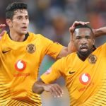 Bernard Parker celebrates his goal with teammate Leonardo Castro of Kaizer Chiefs