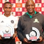 Thembinkosi Lorch of Orlando Pirates and Pitso Mosimane, coach of Mamelodi Sundowns