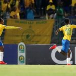Themba Zwane celebrates his goal with Mamelodi Sundowns teammate Lebohang Maboe