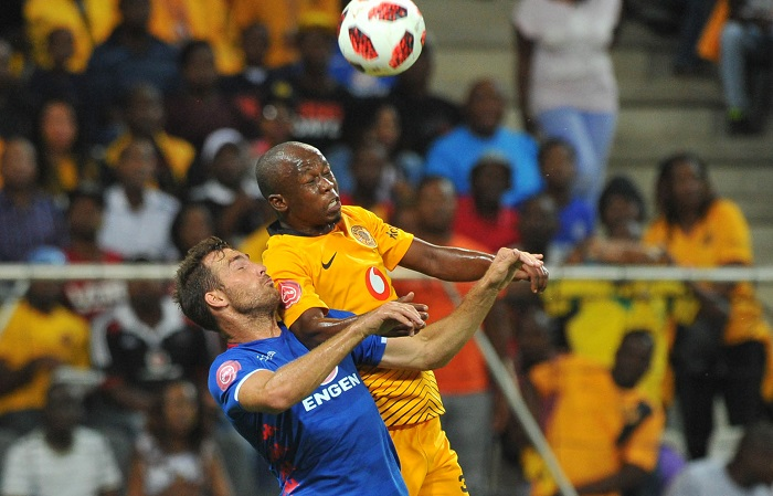 Bradley Grobler of Supersport United challenged by Siphosakhe Ntiya Ntiya of Kaizer Chiefs