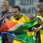 Bafana Bafana's Percy tau celebrates his sides Afcon qualification