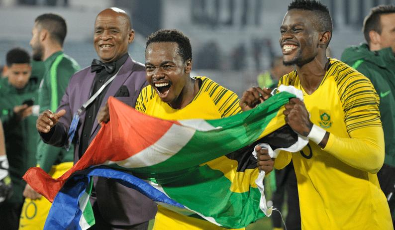 Bafana Bafana's Percy tau celebrates his sides Afcon qualification