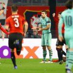 Sokratis Papastathopoulos of Arsenal sees red