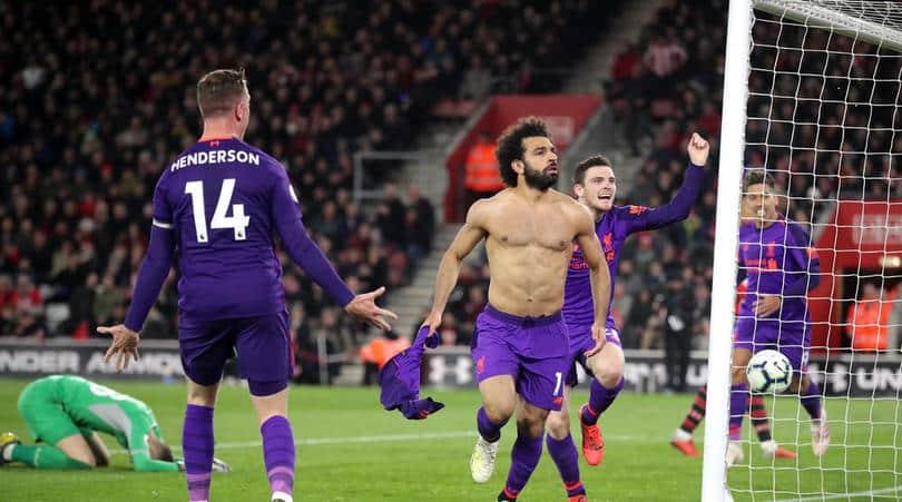 Liverpool's Mohamed Salah celebrates scoring
