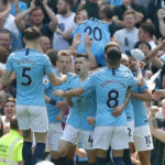Phil Foden of Manchester City celebrates scoring his side's first goal of the game during the Premier League match at the Etihad Stadium, Manchester.