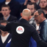 Chelsea manager Maurizio Sarri is sent off from the touchine during the Premier League match at Stamford Bridge, London