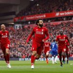 Mohamed Salah of Liverpool celebrates his goal against Chelsea