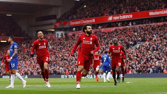 Mohamed Salah of Liverpool celebrates his goal against Chelsea