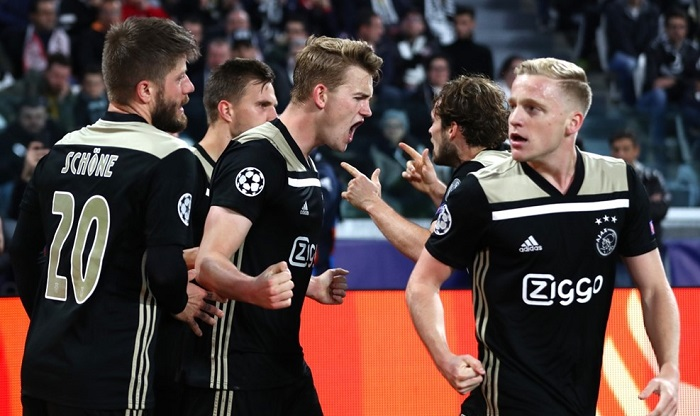 Matthijs de Ligt of Ajax celebrates scoring the winner against Juventus