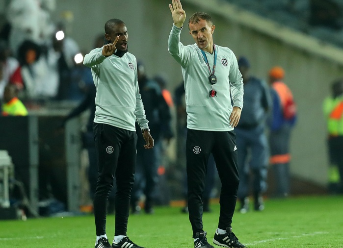 Rhulani Mokwena, assistant coach of Orlando Pirates and head coach Milutin Sredojevic