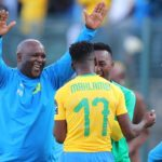 Pitso Mosimane celebrates with Phakamani Mahlambi during the CAF Champions League match against Al Ahly