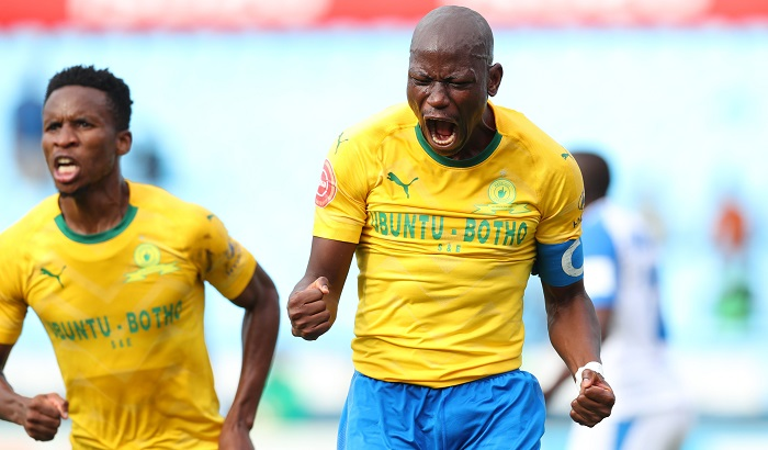 Mamelodi Sundowns captain Hlompho Kekana celebrates his goal with Themba Zwane