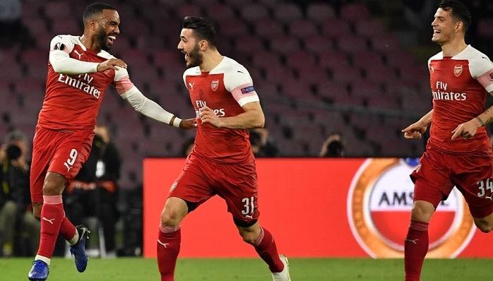 Alexandre Laccazette of Arsenal celebrates his winner against Napoli