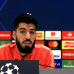 Barcelona's Luis Suarez during the press conference at Anfield Stadium, Liverpool.
