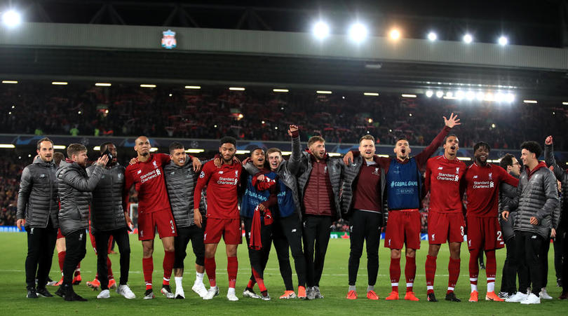 Liverpool celebrate after the Uefa Champions League Semi Final, second leg match at Anfield, Liverpool.