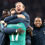 Tottenham Hotspur's Harry Kane celebrates with team-mates