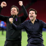 Tottenham Hotspur manager Mauricio Pochettino and Miguel D'Agostino celebrate progression to the Champions League final