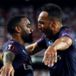 Arsenal's Pierre-Emerick Aubameyang celebrates with teammate Alexandre Lacazette