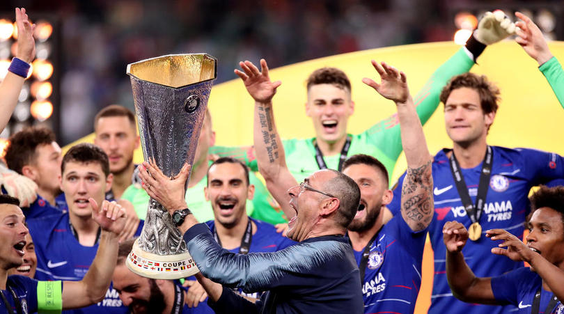 Chelsea manager Maurizio Sarri celebrates with the trophy