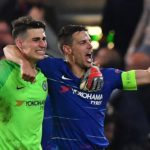 Goalkeeper Kepa Arrizabalaga and defender Cesar Azpilicueta of Chelsea celebrate