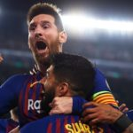 Lionel Messi celebrates with his Barcelona teammates