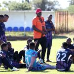 Dan Malesela, coach of TS Galaxy talking to his player after training