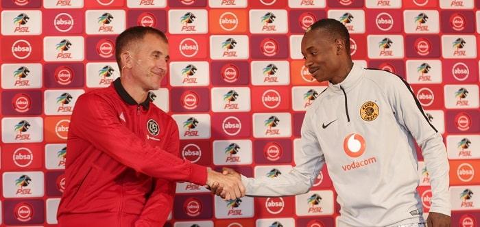 Milutin Sredojevic coach of Orlando Pirates and Khama Billiat of Kaizer Chiefs