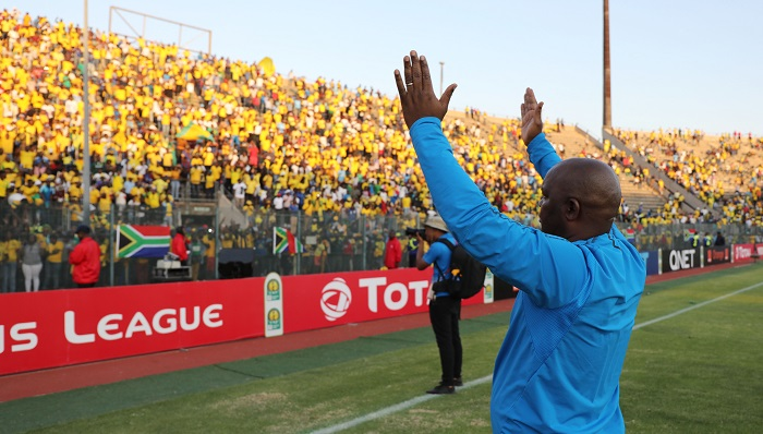 Pitso Mosimane, coach of Sundowns thanks the fans after their 2018/19 CAF Champions League exit