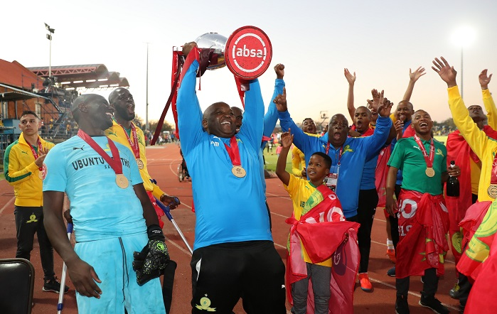 Pitso Mosimane, coach of Mamelodi Sundowns celebrates