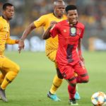 Sizwe Mdlinzo of TS Galaxy challenged by Willard Katsande and Aro Adrianarimanana of Kaizer Chiefs