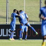 Celebrations as Royal Eagles score the first goal during the NFD Promotion Playoffs match against Tshakhuma FC